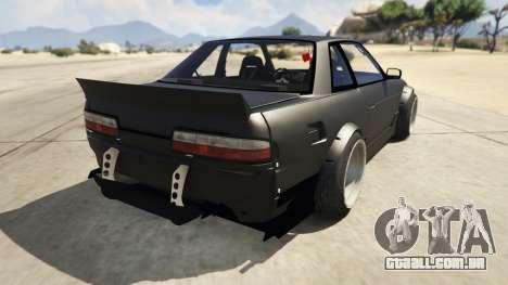 GTA 5 Nissan Silvia S13 6666 Rocket Bunny 1.7 traseira vista lateral esquerda