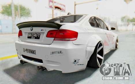 BMW M3 E92 Liberty Walk LB Performance para GTA San Andreas traseira esquerda vista