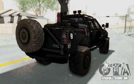 Toyota Hilux Technical Vindicator SecFor para GTA San Andreas traseira esquerda vista