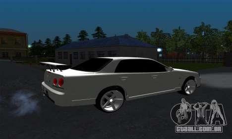 Nissan Skyline ER34 GT-R para GTA San Andreas traseira esquerda vista