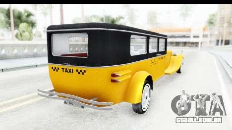Unique V16 Fordor Taxi para GTA San Andreas vista direita