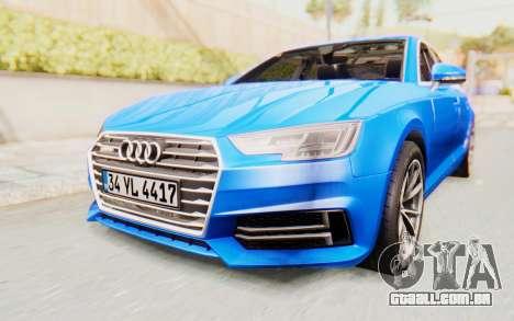 Audi A4 2017 HQLM para GTA San Andreas vista direita