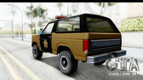 Ford Bronco 1982 Police IVF para GTA San Andreas esquerda vista