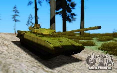 T-14 Armata Green para GTA San Andreas traseira esquerda vista