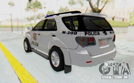 Toyota Fortuner 4WD 2015 Paraguay Police para GTA San Andreas esquerda vista