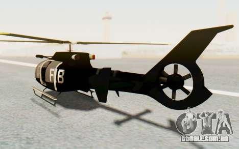 GTA 5 Maibatsu Frogger FIB para GTA San Andreas traseira esquerda vista