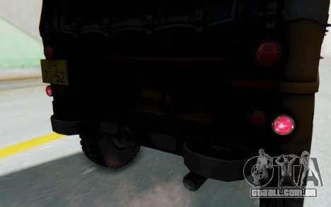 UAZ-460Б FIV para vista lateral GTA San Andreas