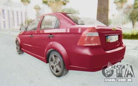 Chevrolet Aveo 2007 para GTA San Andreas traseira esquerda vista