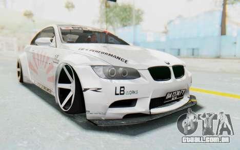 BMW M3 E92 Liberty Walk LB Performance para GTA San Andreas vista direita