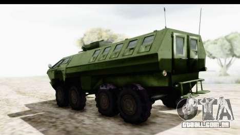 Lazar Serbian Armored Vehicle para GTA San Andreas traseira esquerda vista