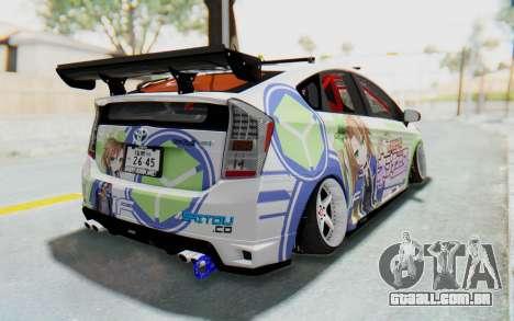 Toyota Prius Hybrid 2011 Hellaflush IF Itasha para GTA San Andreas esquerda vista