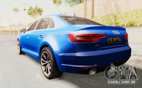 Audi A4 2017 HQLM para GTA San Andreas traseira esquerda vista