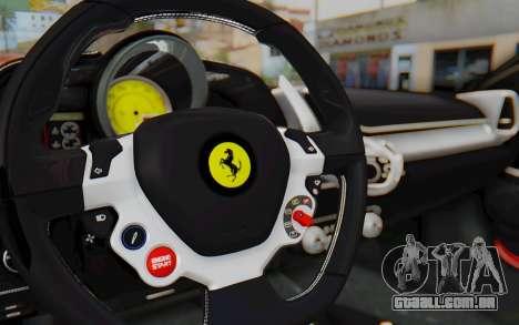 Ferrari 458 Italia F142 2010 para GTA San Andreas vista interior