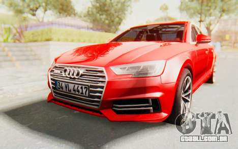 Audi A4 2017 IVF para GTA San Andreas traseira esquerda vista