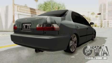 Honda Civic SI Sedan 1992 para GTA San Andreas traseira esquerda vista
