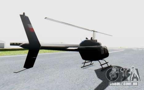 Bell 206B-III Jet Ranger Policja para GTA San Andreas traseira esquerda vista