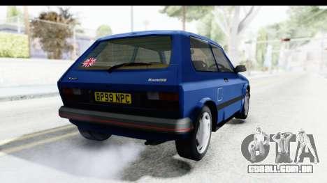 Zastava Yugo Koral UK para GTA San Andreas traseira esquerda vista