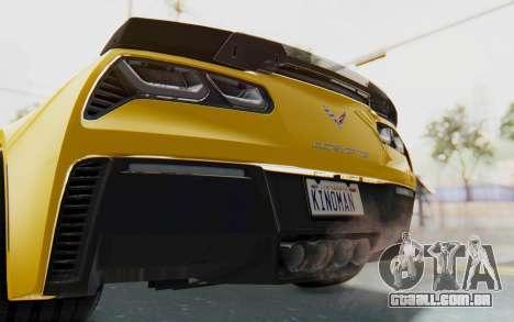 Chevrolet Corvette C7.R Z06 2015 para GTA San Andreas vista inferior