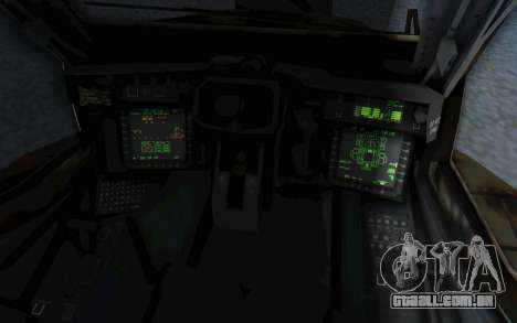 AH-64 Apache Leopard para GTA San Andreas vista interior