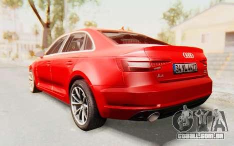 Audi A4 2017 IVF para GTA San Andreas esquerda vista
