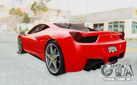 Ferrari 458 Italia F142 2010 para GTA San Andreas traseira esquerda vista