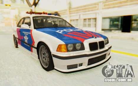 BMW M3 E36 Police Indonesia para GTA San Andreas traseira esquerda vista
