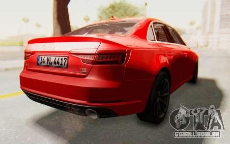 Audi A4 2017 IVF para GTA San Andreas vista direita