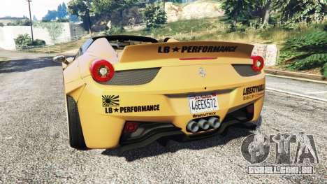 GTA 5 Ferrari 458 Spider [Liberty Walk] traseira vista lateral esquerda