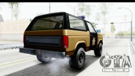 Ford Bronco 1982 Police IVF para GTA San Andreas traseira esquerda vista