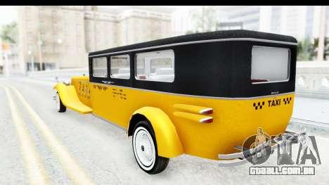 Unique V16 Fordor Taxi para GTA San Andreas esquerda vista