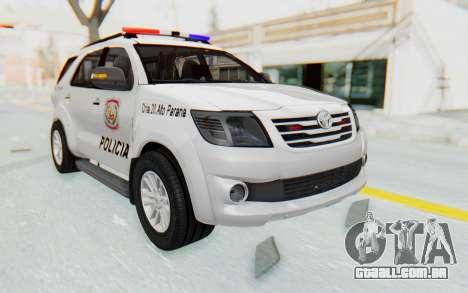 Toyota Fortuner 4WD 2015 Paraguay Police para GTA San Andreas vista direita