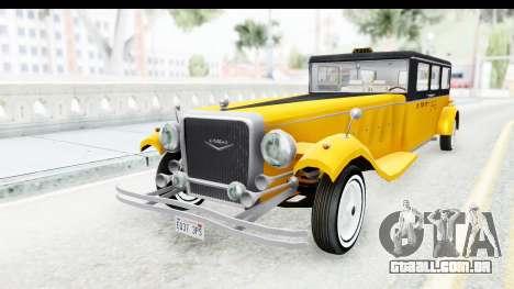 Unique V16 Fordor Taxi para GTA San Andreas traseira esquerda vista