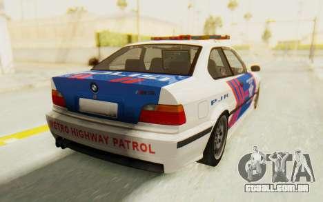 BMW M3 E36 Police Indonesia para GTA San Andreas esquerda vista