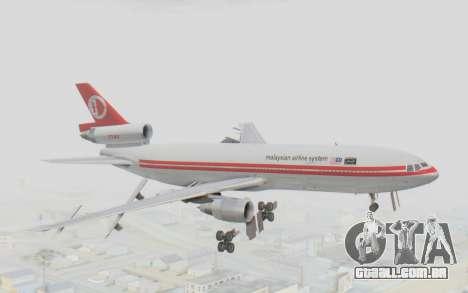 DC-10-30 Malaysia Airlines (Retro Livery) para GTA San Andreas traseira esquerda vista