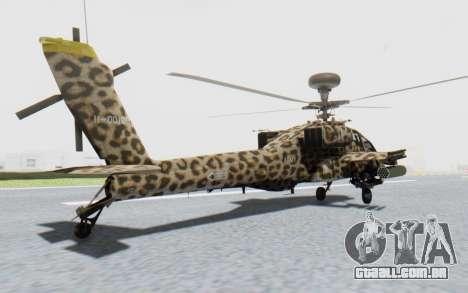 AH-64 Apache Leopard para GTA San Andreas esquerda vista