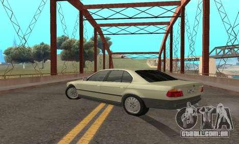 BMW 730 para GTA San Andreas vista traseira