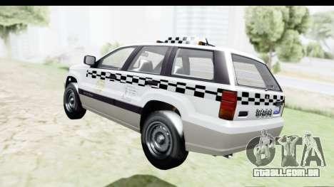 GTA 5 Canis Seminole Taxi Milspec para GTA San Andreas traseira esquerda vista