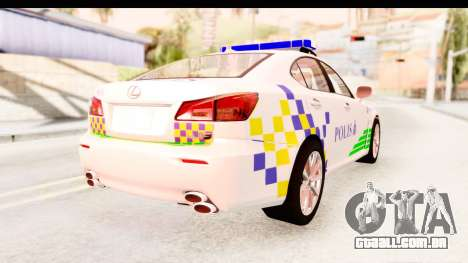 Lexus IS F PDRM para GTA San Andreas esquerda vista