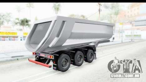 Trailer Volvo Dumper para GTA San Andreas esquerda vista