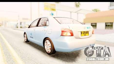 Toyota Vios 2008 Taxi Blue Bird para GTA San Andreas esquerda vista