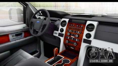 Ford F-150 Police New York para GTA San Andreas vista interior