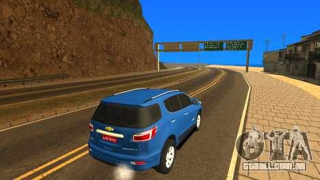 Chevrolet TrailBlazer 2015 LTZ para GTA San Andreas vista traseira