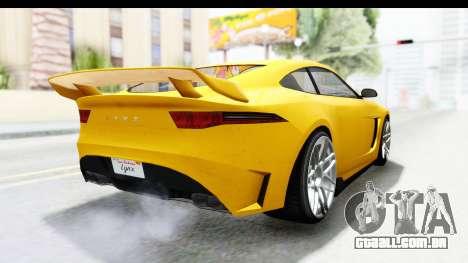 GTA 5 Ocelot Lynx SA Lights PJ para GTA San Andreas vista direita