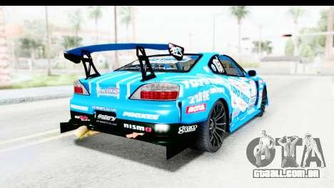 Nissan Silvia S15 D1GP Blue Toyo Tires para GTA San Andreas traseira esquerda vista