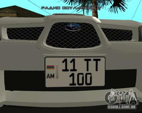 Subaru Impreza Armenian para GTA San Andreas traseira esquerda vista