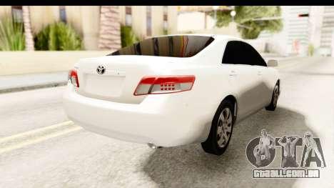 Toyota Camry GL 2011 para GTA San Andreas traseira esquerda vista