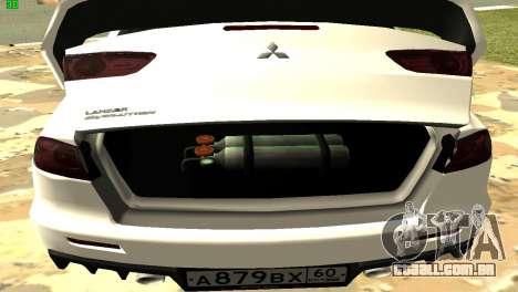 Mitsubishi Lancer X GVR para vista lateral GTA San Andreas