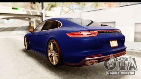 Porsche Panamera 4S 2017 v4 para GTA San Andreas traseira esquerda vista