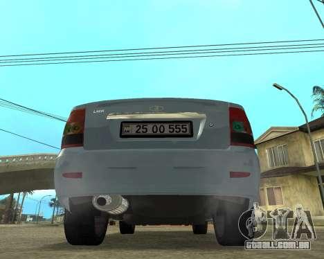 Lada Priora Arménia para GTA San Andreas traseira esquerda vista