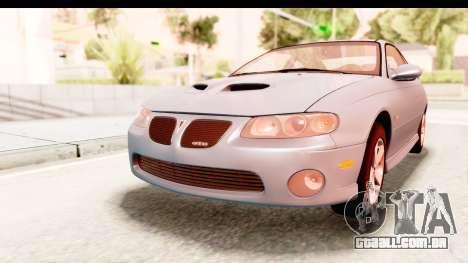 Pontiac GTO 2006 para GTA San Andreas traseira esquerda vista